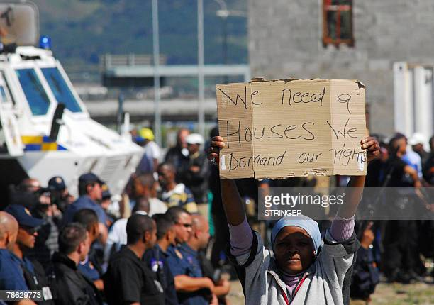 Hundreds of residents of the Joe Slovo informal settlement demonstrate 10 September 2007 against the lack of services provided by the government in...