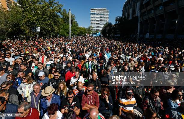 Hundreds of riders gather in Madrid to pay tribute to Grand Prix motorcycling legend Angel Nieto in front of the Santiago Bernabeu stadium on...