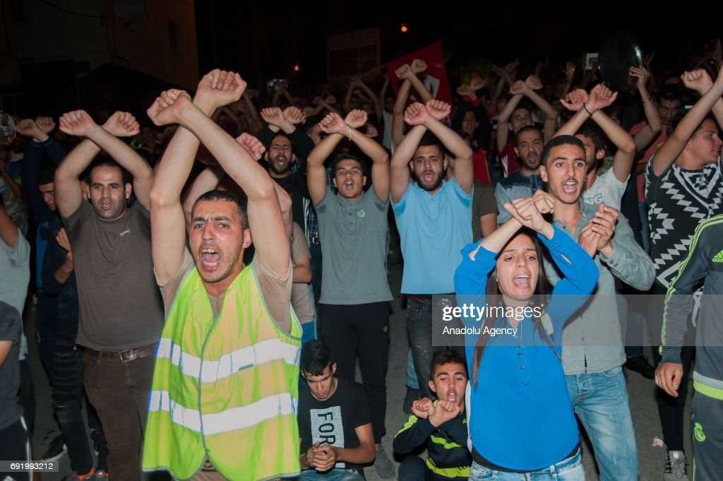 Hundreds of Rif movement supporters attend an anti-government protest on June 3, 2017 in Al-Hoceima, Morocco.
