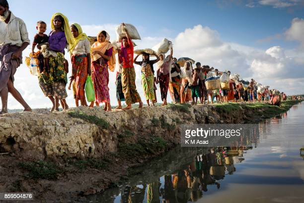 Hundreds of Rohingya people crossing Bangladesh's border as they flee from Buchidong at Myanmar after crossing the Naf River in Bangladesh According...