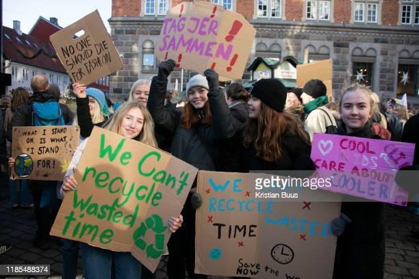 Hundreds of school children strike and march in protest against the governments inaction on climate change, November 29th, 2019 in Arhus, Denmark....