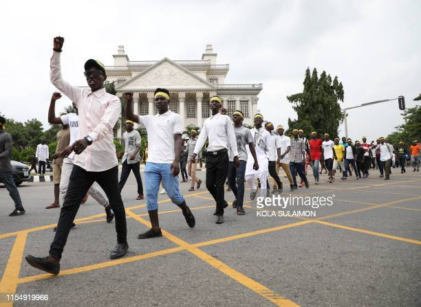 Hundreds of Shiites demonstrate in Abuja on July 10 to demand the release of their jailed leader a day after clashes with police left several...