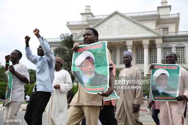 Hundreds of Shiites demonstrate in Abuja on July 10 to demand the release of the leader of the Islamic Movement in Nigeria Sheikh Ibrahim Zakzaky a...