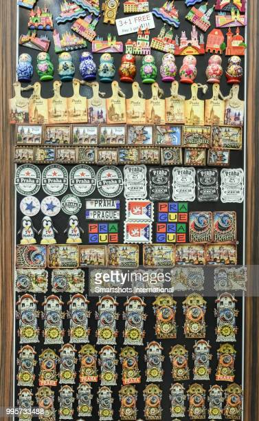 Hundreds of souvenir magnets in for sale in downtown Prague, Bohemia, Czech republic