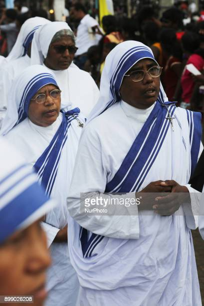 Hundreds of Sri Lankan Catholic nuns take part in the procession at the Shrine of Our Lady of Madhu during the Feast of Our Lady of Madhu in Mannar...