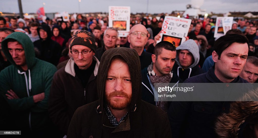 Hundreds of steel workers, their families and supporters attend a torch light vigil and rally to show support for the workers and contractors from SSI steel on September 24, 2015 in Redcar, England. The event, which was organised by Labour MP for Redcar Anna Turley and members of the local community followed the recent announcement that SSI Steel has had to pause steel production at the Redcar site due to ongoing issues with the supply of raw materials and services.