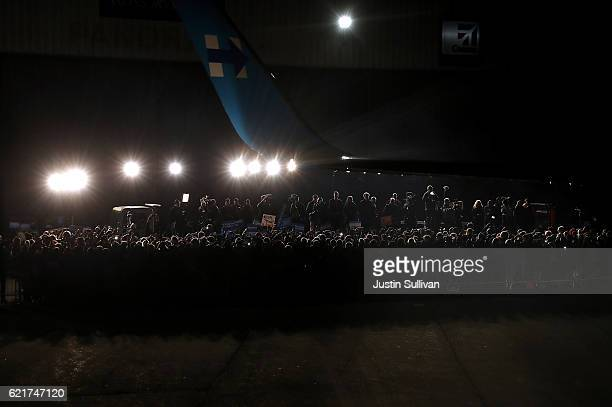 Hundreds of supporters await the arrival of Democratic presidential nominee former Secretary of State Hillary Clinton at Westchester County Airport...