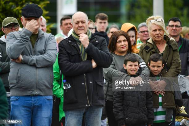 Hundreds of supporters gather at Celtic Park to pay their respects and watch the funeral of former Celtic player and manager Billy McNeill on May 3...