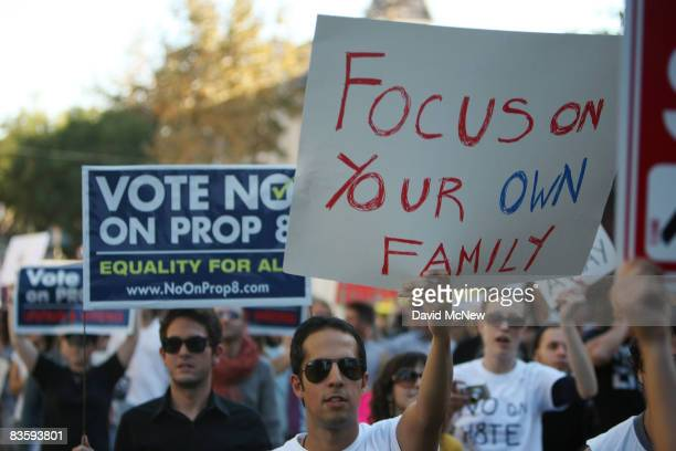 Hundreds of supporters of samesex marriage march for miles in protest against the Church of Jesus Christ of Latterday Saints November 6 2008 in Los...