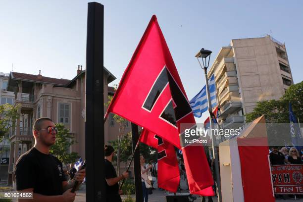 Hundreds of supporters of the nationalist Golden Dawn party held a torchlit march in Thessaloniki Greece on 25 June 2017 to protest against the Greek...