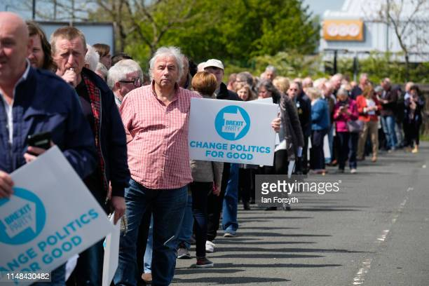 Hundreds of supporters wait to enter ahead of a Brexit Party campaign event at Rainton Meadows Arena on May 11 2019 in Houghton Le Spring United...