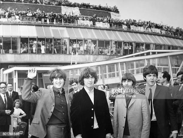 Hundreds of teenagers gathered at London airport today to give a send off to the Beatles who were flying to America on August 13 1965 in London...