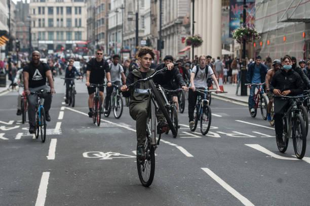 GBR: BikeStormz Riders Take Part In A Protest In Central London