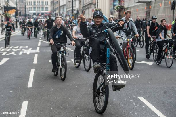 Hundreds of teenagers participate in the Bikestormz ride out in central London on July 24, 2021 in London, England.
