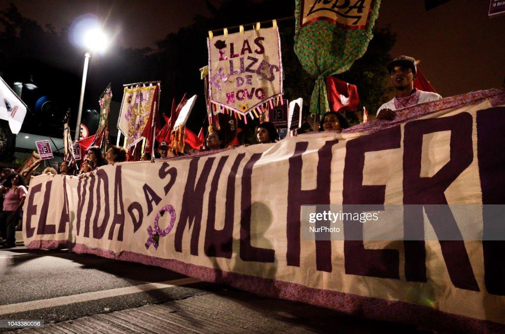 Protestors Rally Against Brazilian Presidential Candidate Jair Bolsonaro : News Photo