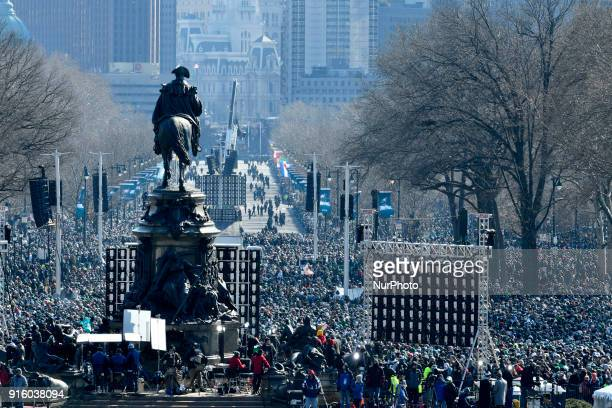 Hundreds of thousands fill the Parkway in Philadelphia PA on February 8 to celebrate the Philadelphia Eagles winning Super Bowl LII The Eagles beat...