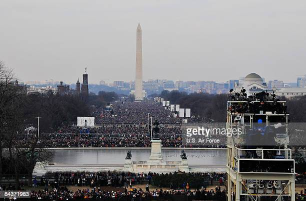 Hundreds of thousands gather on the National Mall prior to the start of the inauguration of the 44th president of the United States of America...