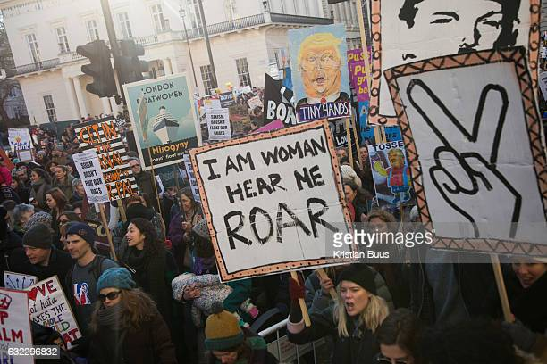Hundreds of thousands joined the Women's March January 21st 2017 in London The march was part of a global respons to the inaurguration of President...