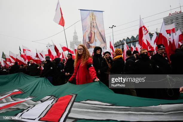 Hundreds of thousands march to celebrate Polish independence in Warsaw on November 11, 2018 in Warsaw, Poland