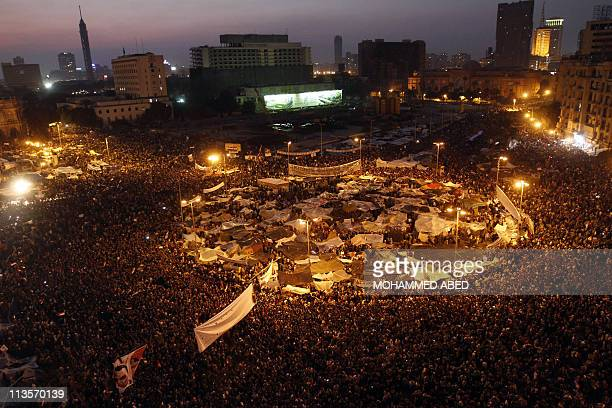 Hundreds of thousands of antigovernment demonstrators crowd Cairo's Tahrir square on February 8 2011 in the largest protests since the start of a...