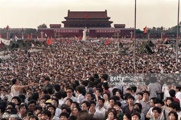 Hundreds of thousands of Chinese gather on June 2 1989 in Tiananmen Square around a 10metre replica of the Statue of Liberty called the Goddess of...