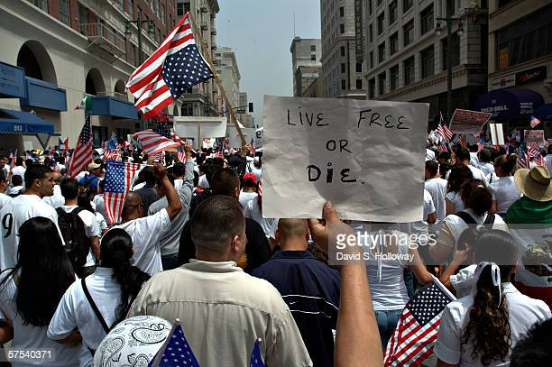 Hundreds of thousands of immigrants demonstrate on May 1 2006 in downtown Los Angeles California The demonstration called The Great American Boycott...