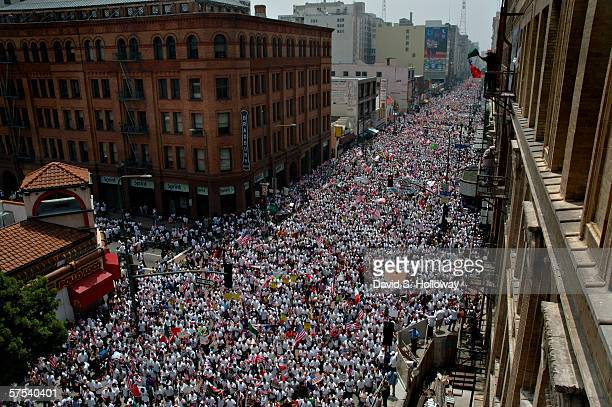 Hundreds of thousands of immigrants demonstrateon May 1 2006 in downtown Los Angeles California The demonstration called The Great American Boycott...