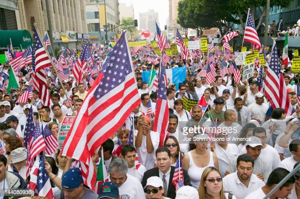 Hundreds of thousands of immigrants participate in march for Immigrants and Mexicans protesting against Illegal Immigration reform by US Congress Los...