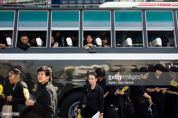 Hundreds of thousands of people attend the funeral of the late Thai King Bhumibol Adulyadej on October 26 2017 in Bangkok Thailand Hundreds of...
