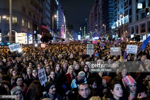 Hundreds of thousands of people demonstrating during International Women's Day