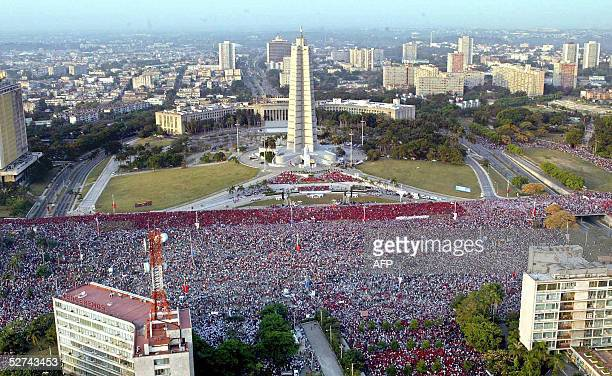 Hundreds of thousands of people gather at Havana's Plaza de la Revolucion to listen to President Fidel Castro on the commemoration of International...