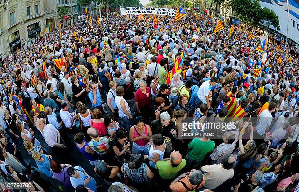 Hundreds of thousands of people march on July 10 2010 in Barcelona in support of the Catalan region's statute of autonomy after it was challenged by...
