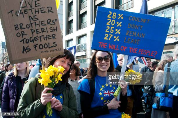 Hundreds of thousands of people protest in the Unite for Europe March on Parliament against Brexit demonstration on 25th March 2017 in London United...