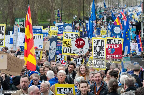 Hundreds of thousands of people take part in the 'Put it to the People' march through the capital followed by a rally in Parliament Square to demand...