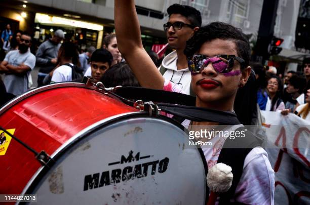 Hundreds of thousands of people took the streets of Sao Paulo Brazil on May 15 2019 to protest against the federal government's cuts in public...