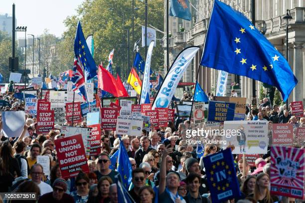 Hundreds of thousands of proEU supporters take part in the People's Vote march through central London followed by a rally in Parliament Square to...
