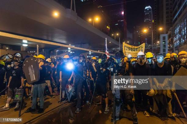 Hundreds of thousands of protesters faceoff with the police during an antiextradition bill march in Hong Kong on July 21 2019 in Hong Kong Hong Kong...