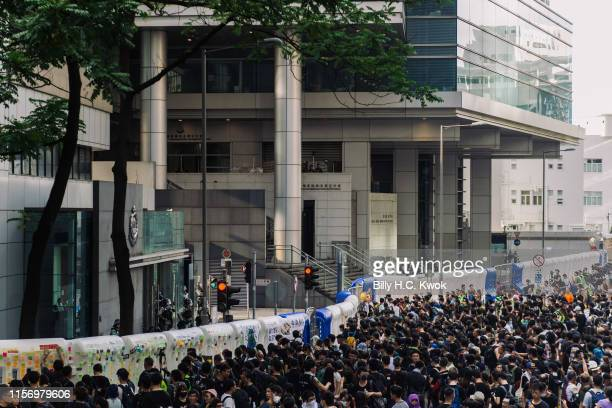 Hundreds of thousands of protesters gather outside Police Headquarters during antiextradition bill march in Hong Kong on July 21 2019 in Hong Kong...