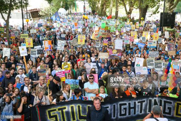 Hundreds of thousands of young people worldwide join marches while holding placards during the protest This is the third such worldwide global...