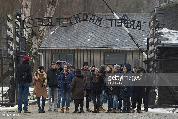 Hundreds of tourists arrive to the former Auschwitz I camp ahead of the 71st Anniversary of the Liberation of Auschwitz camp Oswiecim Poland on...