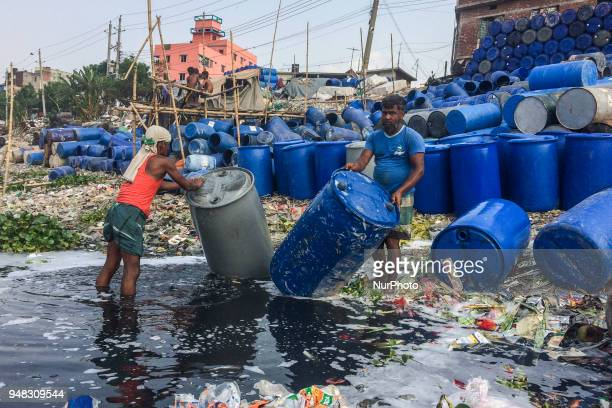 Hundreds of toxic soaked wash everyday in the river Buriganga in Dhaka Bangladesh on 18 April 2018 The water is getting intoxicated