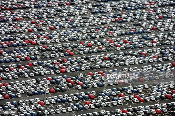 Hundreds of Toyota Yaris cars fill the open car storage park outside the Toyota factory near Derby in this aerial photo taken on 15th June 2006