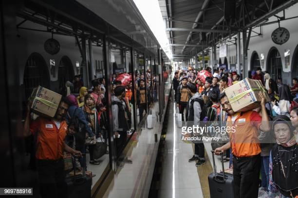 Hundreds of train passengers are seen at the Pasar Senen station Central Jakarta Indonesia on 08 June 2018 Mudik in Indonesia is synonymous with the...