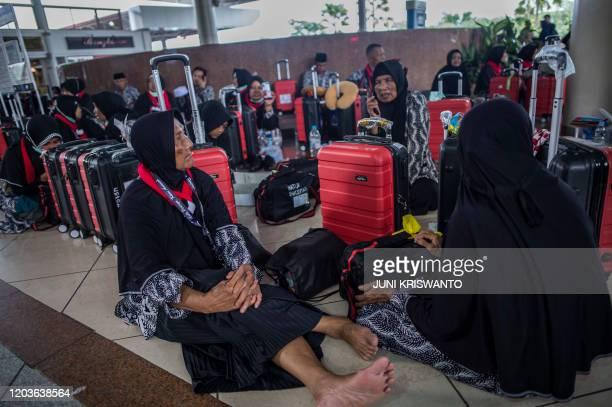 Hundreds of Umrah pilgrims piled up at Juanda International Airport in Sidoarjo East Java province on February 27 2020 Saudi Arabia suspended visas...