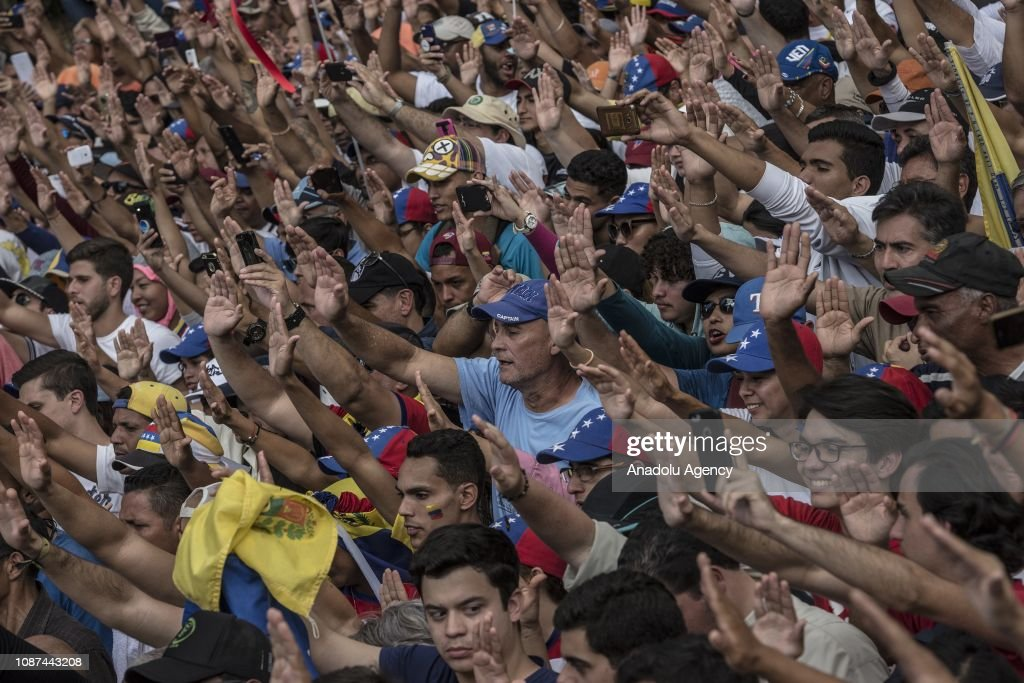 Mass Opposition Rally Against Nicolas Maduro in Caracas : News Photo
