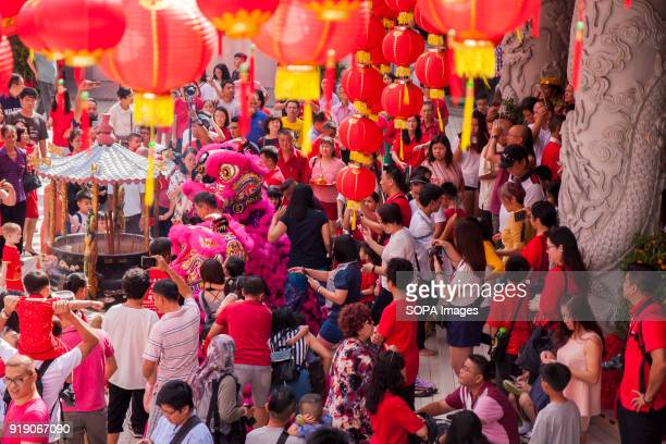 Hundreds of visitor were gathered at the Thean Hou Temple on the first day of Chinese New Year to see the lion dance performance Chinese New Year is...
