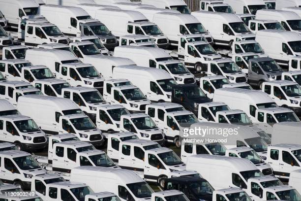 Hundreds of white Ford vans at the Port of Southampton on February 10 2019 in Southampton England The Port of Southampton is a passenger and cargo...
