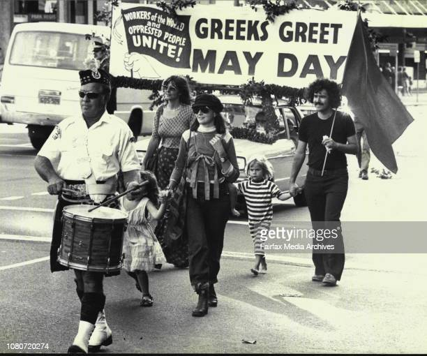 Hundreds of women and children took part in today's May Day March which began at the Haymarket and ended at the Domain May 2 1976