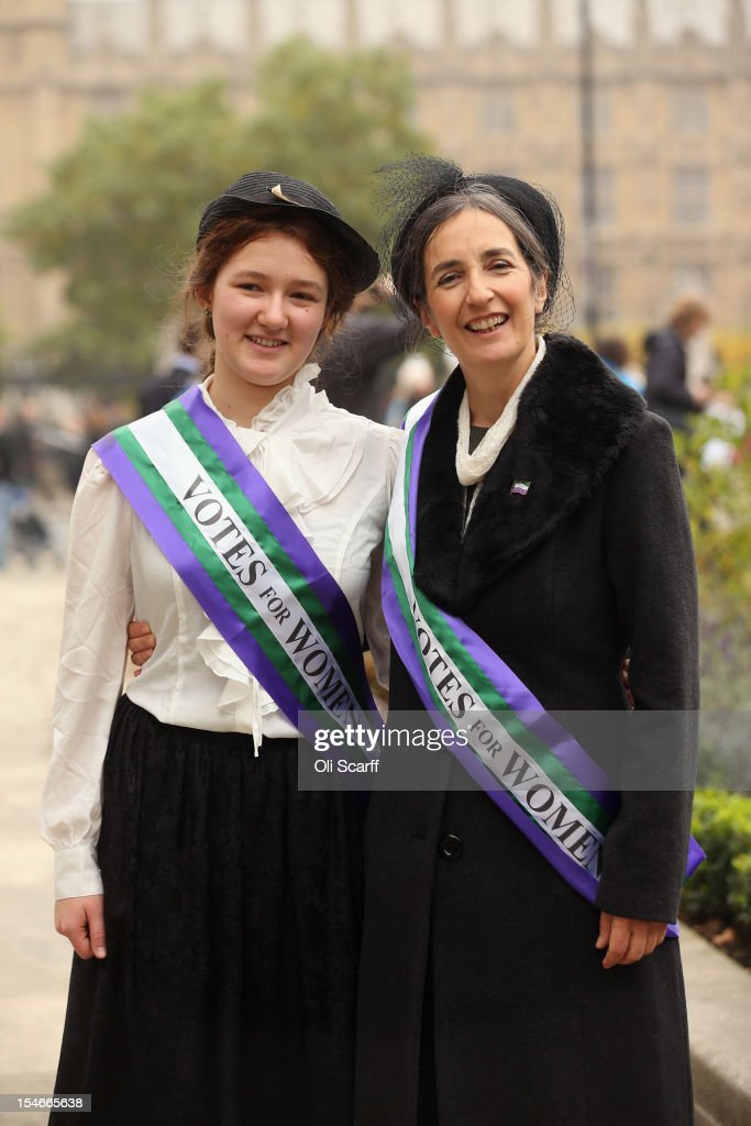 Dr Helen Pankhurst (R), granddaughter of Emmeline Pankhurst, and her daughter Laura Pankhurst, join campaigners at a rally organised by UK Feminista in Parliament Square to call for equal rights for men and women on October 24, 2012 in London, England. LONDON, UNITED KINGDOM - OCTOBER 24: Hundreds of women from around the UK, some dressed as suffragettes, congregated in Westminster to attend a rally and lobby their local MPs to demonstrate against any legislation that damages women's rights.