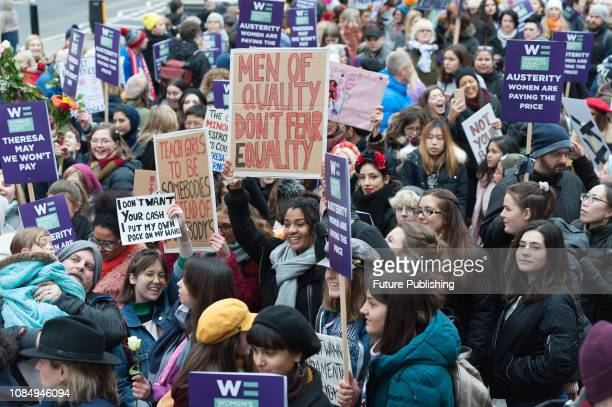 Hundreds of women gather in central London to participate in Women's March for Bread and Roses as part of global protest taking place in 30 countries...